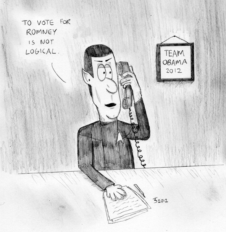 How could Obama lose when he had Spock answering his phone!?