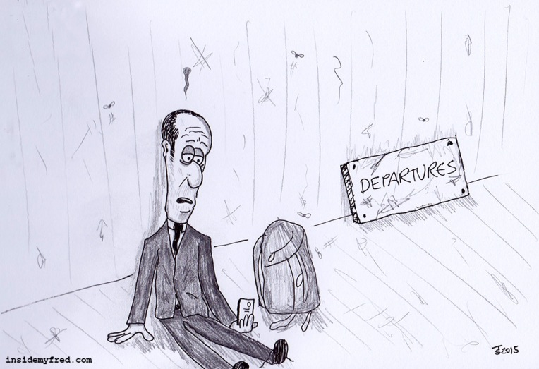 Even Businessmen Look Homeless In The Departure Lounge